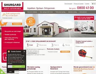 Main page screenshot of shurgard.nl