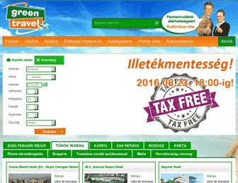 Main page screenshot of greentravel.hu