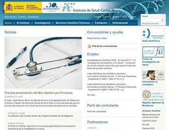 Main page screenshot of isciii.es