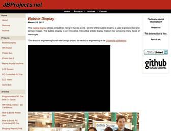 Main page screenshot of jbprojects.net