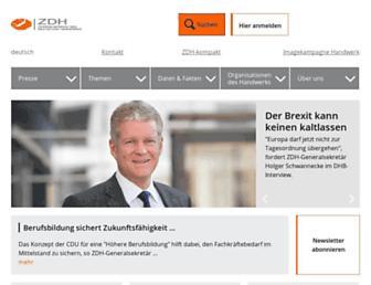 Main page screenshot of zdh.de