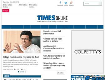Main page screenshot of sundaytimes.lk