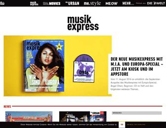 Main page screenshot of musikexpress.de