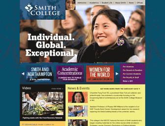 Main page screenshot of smith.edu