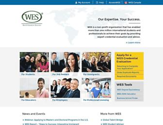Main page screenshot of wes.org