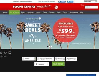Main page screenshot of flightcentre.co.nz
