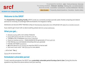 Main page screenshot of srcf.ucam.org