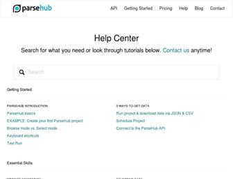 help.parsehub.com screenshot
