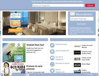 Main page screenshot of codici-sconto.it