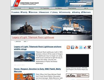 Main page screenshot of uscg.mil