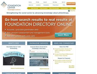 Main page screenshot of foundationcenter.org
