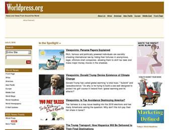 Main page screenshot of worldpress.org