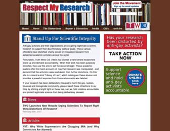 Main page screenshot of respectmyresearch.org