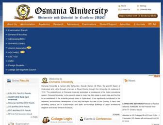 Main page screenshot of osmania.ac.in