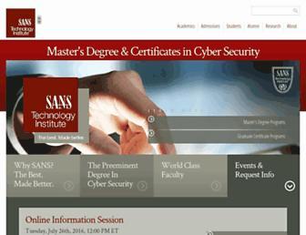 Main page screenshot of sans.edu