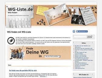 Main page screenshot of wg-liste.de
