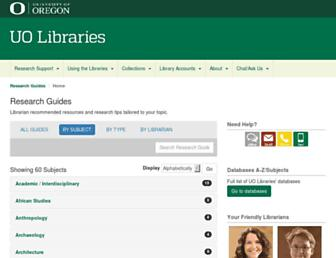 researchguides.uoregon.edu screenshot