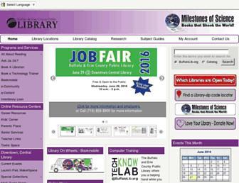 Main page screenshot of buffalolib.org