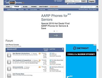 Main page screenshot of cellphoneforums.net