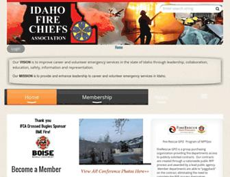 Main page screenshot of idahofirechiefs.org