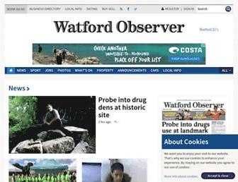 Main page screenshot of watfordobserver.co.uk