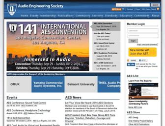 Main page screenshot of aes.org