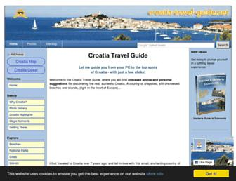 Main page screenshot of croatia-travel-guide.net