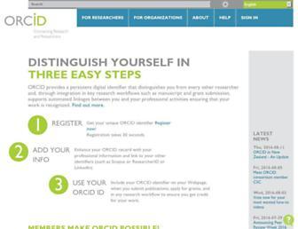 orcid.org screenshot