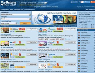 Main page screenshot of ontariophonecards.ca