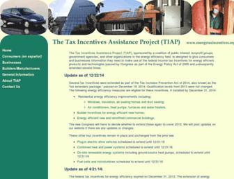 Main page screenshot of energytaxincentives.org