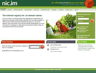 Main page screenshot of nic.im