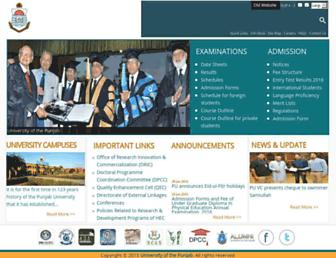 pu.edu.pk screenshot