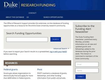 Main page screenshot of researchfunding.duke.edu