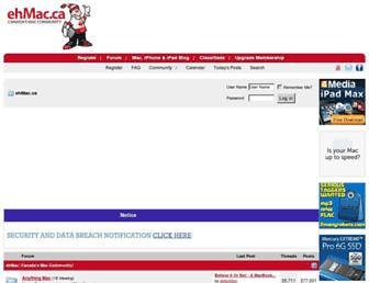 Main page screenshot of ehmac.ca