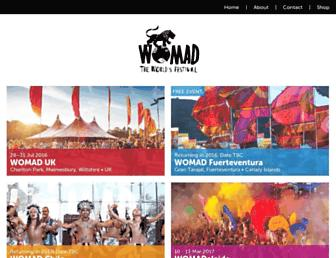 Main page screenshot of womad.org