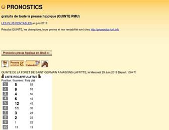 Main page screenshot of pronostics-turf.info