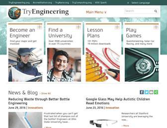 Main page screenshot of tryengineering.org