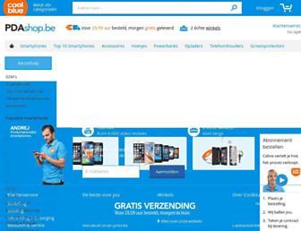 Main page screenshot of pdashop.be