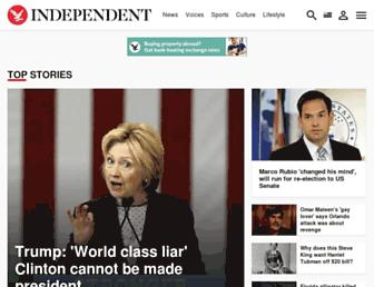 Main page screenshot of independent.co.uk