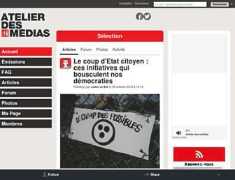 Main page screenshot of atelier.rfi.fr