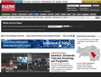 Main page screenshot of kleinezeitung.at