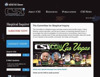 Main page screenshot of csicop.org