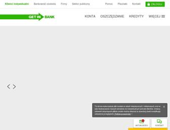 Main page screenshot of getinbank.pl