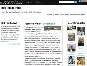 Main page screenshot of newworldencyclopedia.org