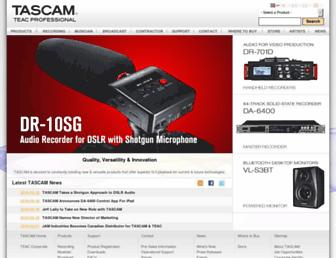 tascam.com screenshot