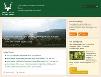 Main page screenshot of sanparks.org