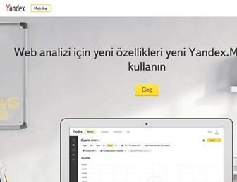 Main page screenshot of metrica.yandex.com.tr