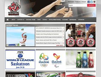 Main page screenshot of volleyball.ca