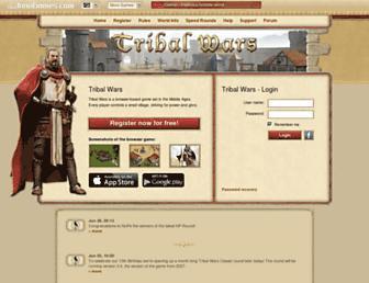 Main page screenshot of tribalwars.net
