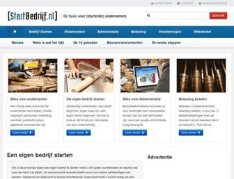 Main page screenshot of startbedrijf.nl